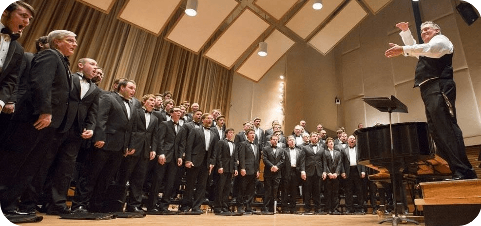 BW men's choir singing