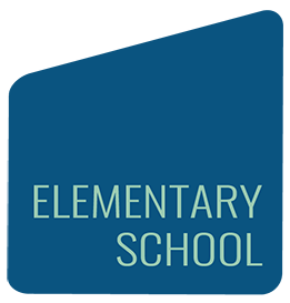 blue shape with elementary school
