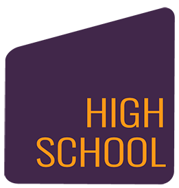 purple shape with high school