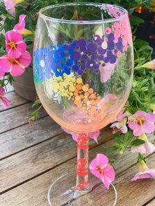 Wine Glass Painting: Rainbow Swirl